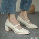 粗跟瑪麗珍鞋女復古2021新款赫本風中高跟方頭淺口單鞋女夏甜美