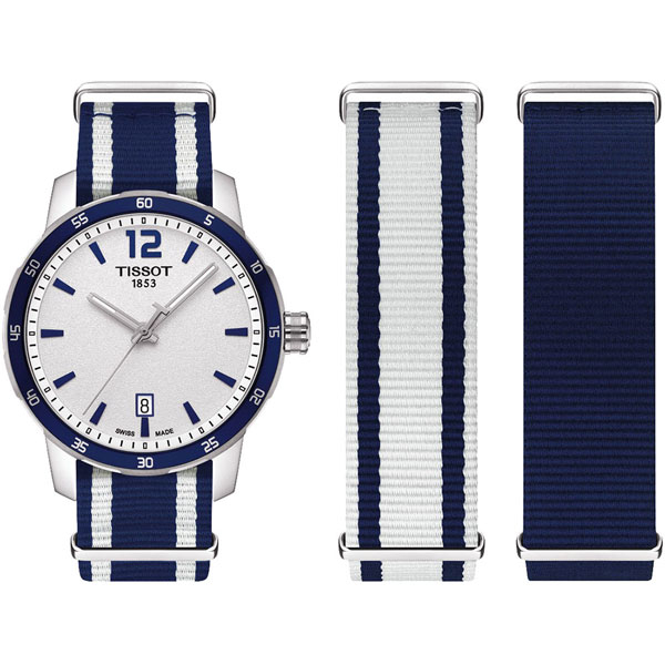 TISSOT 天梭 QUICKSTER NATO 活力運動手錶-銀x藍/40mm T0954101703701