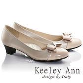 ★零碼出清★Keeley Ann甜美氣息~蝴蝶結飾釦拼接OL全真皮中跟鞋(卡其色)