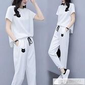 運動休閒服套裝大碼女2021夏季新款韓版寬鬆胖妹妹顯瘦短袖兩件套 夏季新品