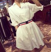 EASON SHOP(GU5311)長版白色襯衫裙連身裙配腰帶洋裝女上衣服大碼韓版OVERSIZE男友風