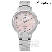 SE Sapphire / SE032L03PS / 甜心蝴蝶結圈藍寶石水晶不鏽鋼手錶 淺粉色 31mm