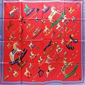 HERMES 愛馬仕 Carre 90*90 紅色x藍色造型絲質方巾  【二手名牌BRAND OFF】