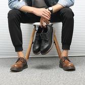 復古雕花布洛克大頭皮鞋 馬丁鞋 圓頭休閒鞋【五巷六號】x275