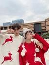 情侶裝秋冬裝2019新款韓版寬鬆百搭紅色毛衣ins超火圣誕節針織衫