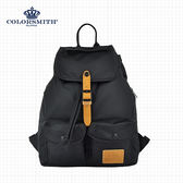 【COLORSMITH】BR.輕束繩雙口袋後背包.BR1342-BK-S