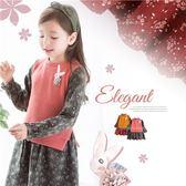 新年-日系素面針織假2件小碎花洋裝(260064)★水娃娃時尚童裝★