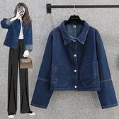 S-5XL大碼牛仔外套~200斤-長袖牛仔短款寬松大碼女裝胖mm韓版外套.R028衣時尚
