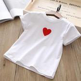 女童短袖洋氣夏兒童上衣白色t恤 寶寶愛心半袖小女孩童裝 奇思妙想屋