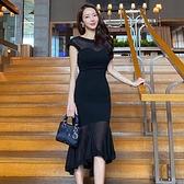 無袖洋裝小禮服 2021夏季新款韓版女裝OL氣質圓領無袖修身不規則雪紡魚尾裙連身裙