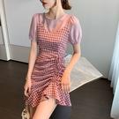 假兩件洋裝夏季新款泡泡袖格子收腰抽繩魚尾裙假兩件連身裙女T624.韓依紡