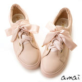amai甜美緞帶蝴蝶結厚底休閒鞋 粉