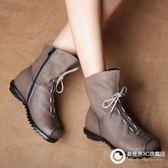 手工褶皺特色民族風真皮女靴頭層牛皮軟底舒適騎士靴短靴 Xdpj47