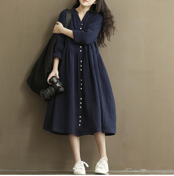 棉麻洋裝大碼女裝2021秋裝新款文藝復古棉麻長袖V領顯瘦連身裙大擺長裙子  雲朵 618購物