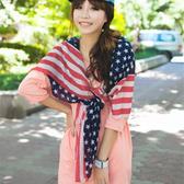 ※ 美國國旗氣質百搭絨雪紡圍巾絲巾【Q1424210 】