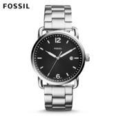 FOSSIL The Commuter 個性經典黑面銀色不鏽鋼手錶 男