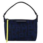 【南紡購物中心】LONGCHAMP LE PLIAGE LGP 系列滿版字母手提包(黑X海軍藍)