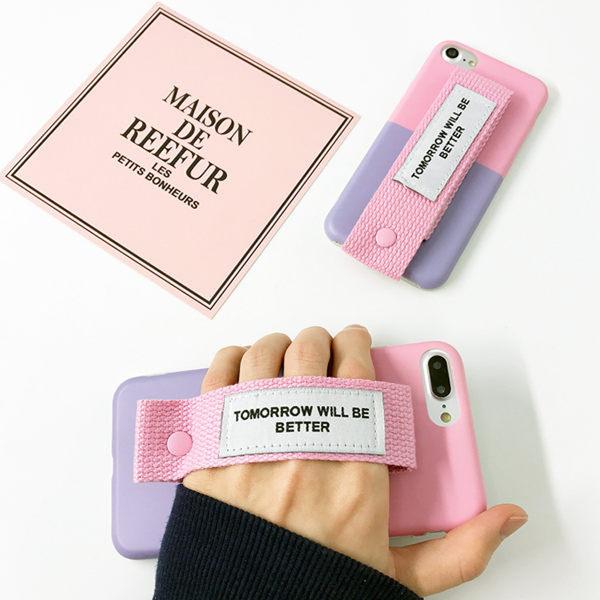 【SZ25】oppo r9s 手機殼 韓風撞色腕帶 r9 plus手機殼 r9 R9S PLUS手機殼軟殼情侶款