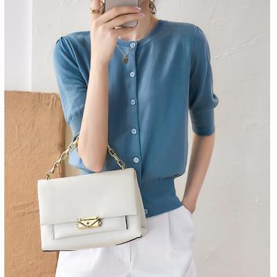 針織短T冰絲涼感上衣~の法式輕奢 五分泡泡袖 16針空調衫針織開衫女DC110B衣時尚
