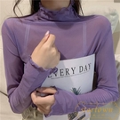 網紗蕾絲打底衫女薄款長袖冰絲高領防曬內搭上衣【繁星小鎮】