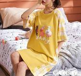 睡裙 睡衣女夏天純棉短袖寬鬆睡裙女夏季薄款韓版清新學生家居服中長裙 愛丫愛丫