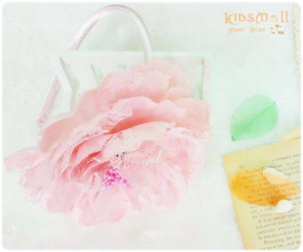 Cutie Bella蕾絲牡丹花髮箍-Pinky