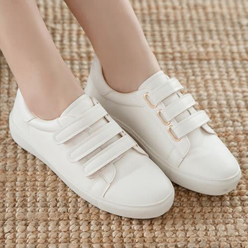 厚底鞋 D+AF 活力時光.三條魔鬼氈休閒小白鞋*白
