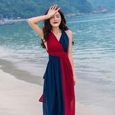 洋裝巴厘島海邊度假露背沙灘長裙夏裝新款雪紡吊帶大擺綁帶掛脖洋裝 【好康八八折】