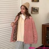 中大尺碼外套 秋冬韓版新款寬松中長款加絨加厚豹紋翻領燈芯絨長袖外套女裝