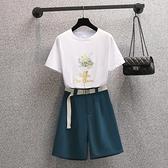 大碼套裝短袖褲裝L-4XL印花短袖T恤 高腰西褲五分褲兩件套裝MR26依佳衣