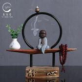新中式禪意擺件創意現代茶室陶瓷小和尚客廳辦公室裝飾品玄關擺設【618好康又一發】
