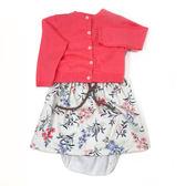 Carter s 長袖洋裝套裝 針織外套+短袖洋裝連身裙+內褲三件組粉花 女寶寶【CA121G884】
