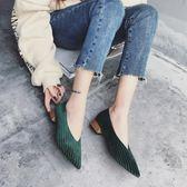 女鞋小清新高跟鞋尖頭韓版乖乖鞋粗跟單鞋平底    琉璃美衣