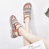 涼鞋夏季新品正韓百搭學生厚底鬆糕羅馬涼鞋仙女風平底涼鞋女