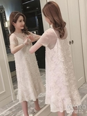 孕婦裝夏裝時尚雪紡吊帶裙兩件套2020新款韓版大碼寬鬆洋裝套裝 京都3C