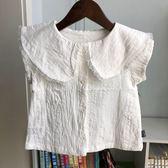 018夏小雨傘童裝女童純棉麻白色短袖