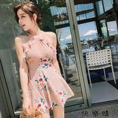 韓國連體泳衣女小香風聚攏荷葉邊裙式平角