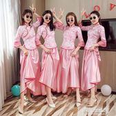 伴娘服中式長款中國風畢業姐妹團伴娘禮服裙合唱演出服女出出租 多莉絲旗艦店