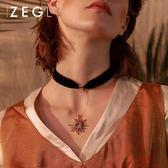 韓國黑色絲絨choker項鍊 女鎖骨鏈簡約短款頸鏈項圈脖子飾品頸帶 『爆米花』