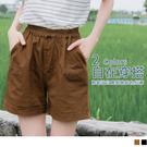 《BA5024》高含棉釦飾設計腰鬆緊純色短褲 OrangeBear