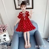 女童連身裙2020新款洋氣公主裙小女孩雪紡裙子夏季波點短袖洋裝 EY11785 【MG大尺碼】