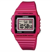 CASIO 亮眼大螢幕電子錶-桃紅(W-215H-4A)