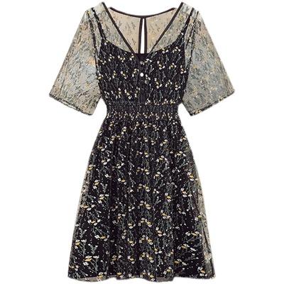 洋裝 連身裙 短袖洋裝大碼女裝胖妹妹減齡鏤空V領顯瘦收腰連身裙9110 4F082 胖妞身櫥