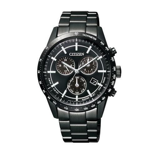 CITIZEN Eco-Drive 暗黑騎士三眼計時光動能腕錶/全黑鋼/AT2115-52E