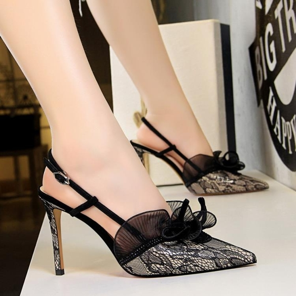 歐洲站新款 涼鞋女黑色性感蕾絲高跟鞋尖頭細跟包頭真皮女鞋