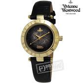 Vivienne Westwood / VV092BKBK / Westbourne 前衛魅力細緻壓紋皮革手錶 黑x金框 28mm