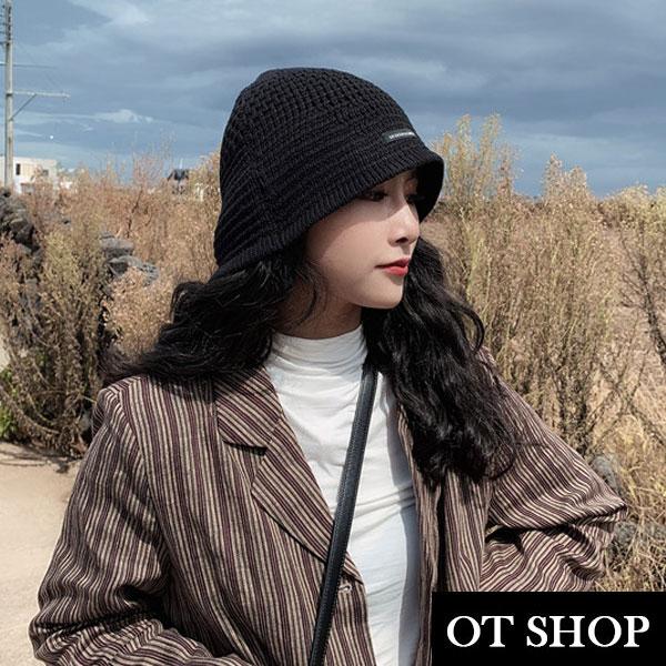 [現貨]帽子 秋冬保暖 軟版針織漁夫帽 基本款素色保暖 英文布標 慵懶穿搭 黑色 C2102 OT SHOP