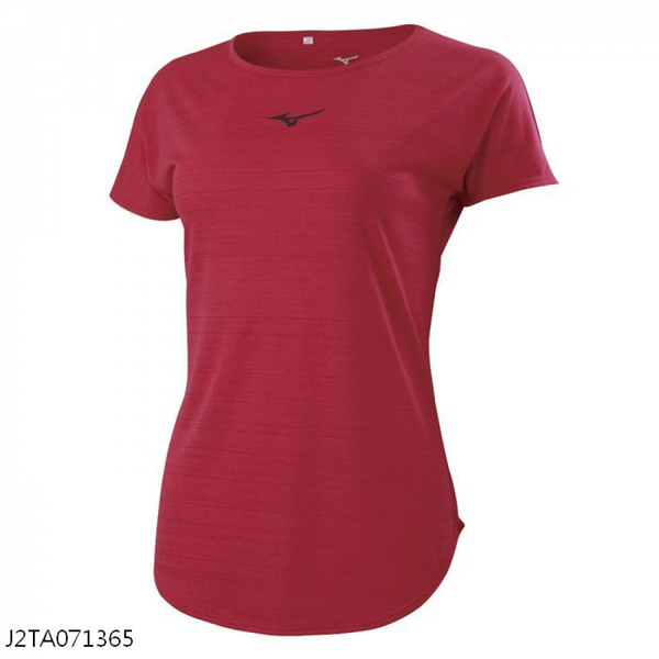 MIZUNO 女裝 短袖 T恤 慢跑 吸汗快乾 前胸反光 後領反光圈 莓果紅【運動世界】J2TA071365