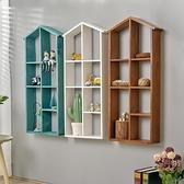 壁飾 背景牆上裝飾品創意實木置物架客廳房間臥室木質壁飾壁掛【幸福小屋】