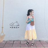 韓國女童裝夏款全棉布拼色吊帶裙洋氣撞色長款洋裝度假露背裙子 幸福第一站